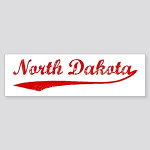 Red Vintage: North Dakota Bumper Sticker