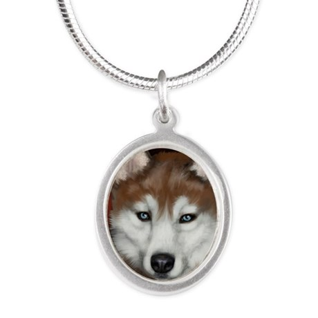 redhusky copy Silver Oval Necklace