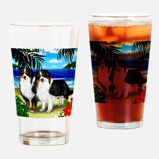 australianshepherdbeach copy Drinking Glass