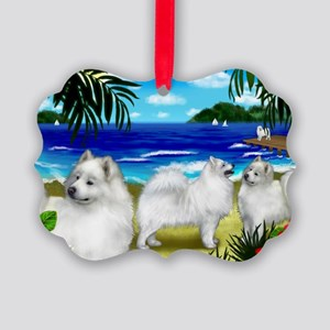 beachsamoyed Picture Ornament
