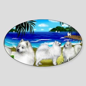 beachsamoyed Sticker (Oval)