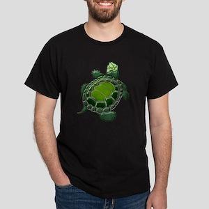 3D Textured Turtle Dark T-Shirt