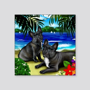 "frenchbulldogbeach copy Square Sticker 3"" x 3"""
