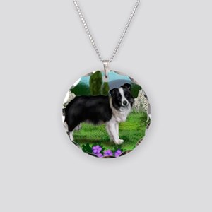 border collie3 copy Necklace Circle Charm