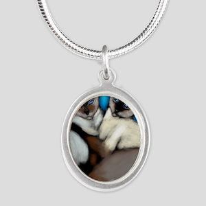 siamesecatsls copy Silver Oval Necklace