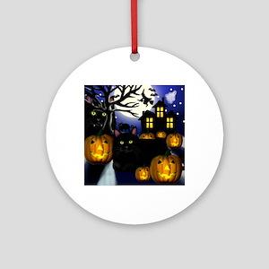 halloweencats copy Round Ornament