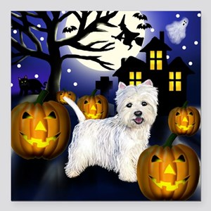 "westiehalloween pcopy Square Car Magnet 3"" x 3"""