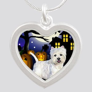 westiehalloween pcopy Silver Heart Necklace