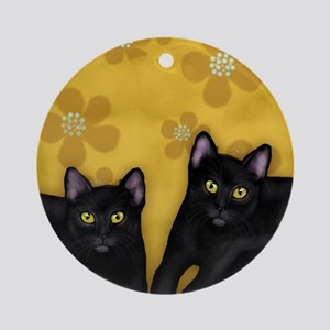 blackcats2 copyls Round Ornament