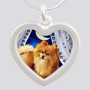 pomeranianwindowmoon copy Silver Heart Necklace