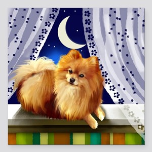 "pomeranianwindowmoon cop Square Car Magnet 3"" x 3"""