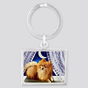 pomeranianwindowmoon copy Landscape Keychain