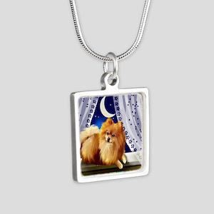pomeranianwindowmoon copy Silver Square Necklace