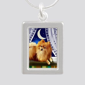 pomeranianwindowmoon cop Silver Portrait Necklace