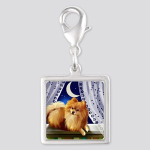pomeranianwindowmoon copy Silver Square Charm