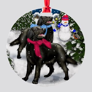 flatcoatedretrvilagesn copy Round Ornament
