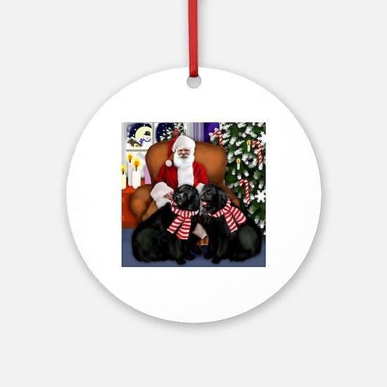 santa clousnewfs copy Round Ornament