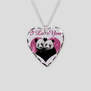 panda black Necklace Heart Charm