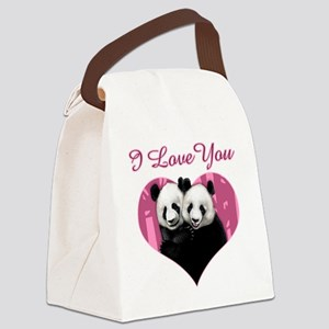 panda black Canvas Lunch Bag