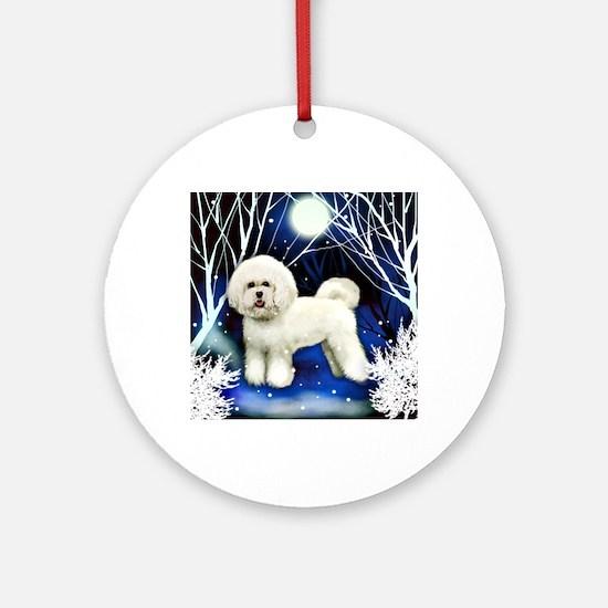 bichon frise snown copy Round Ornament