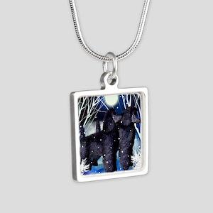 poodlesnown copy Silver Square Necklace