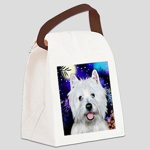 westie moon copy Canvas Lunch Bag