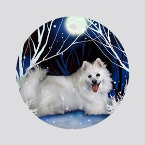 eskie snown copy Round Ornament