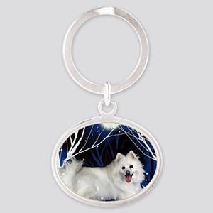 eskie snown copy Oval Keychain