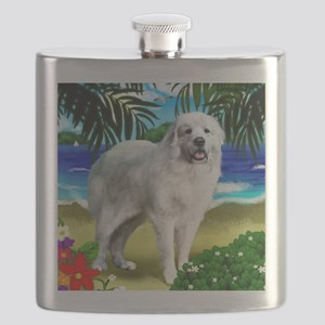 Great Pyrenees beach copy Flask