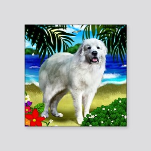"Great Pyrenees beach copy Square Sticker 3"" x 3"""