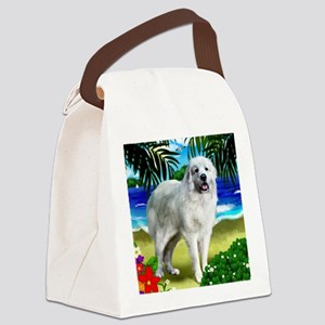 Great Pyrenees beach copy Canvas Lunch Bag
