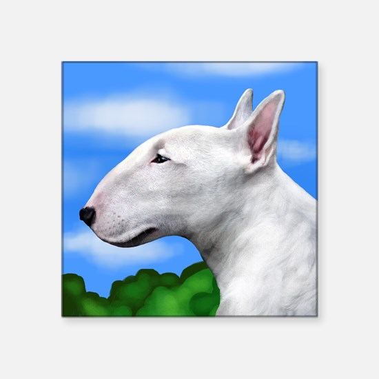 "bullterriertrees copy Square Sticker 3"" x 3"""