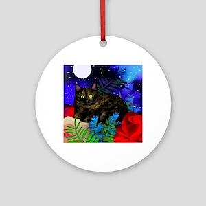 tortoiseshell cat moon 2 copy Round Ornament