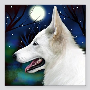 "germanshepwhite2 copy Square Car Magnet 3"" x 3"""