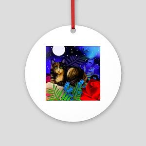 tortoiseshell cat moon copy Round Ornament