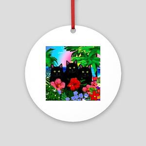 beachparadise bl cats Round Ornament