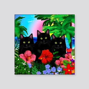 "beachparadise bl cats Square Sticker 3"" x 3"""