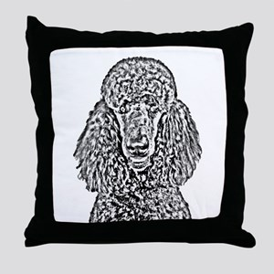 Poodle Sketch 2 Throw Pillow