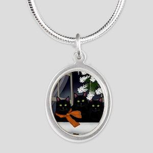 ww bcats copy Silver Oval Necklace