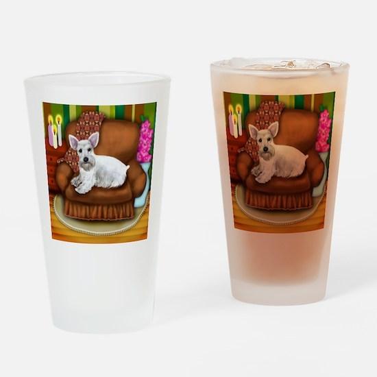 schnauzerwsofa copy Drinking Glass