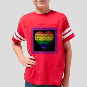 rainbow_heart-purple matte Youth Football Shirt