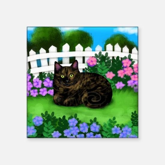 "TORTOISESHELL CAT garden Square Sticker 3"" x 3"""