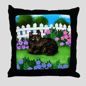 TORTOISESHELL CAT garden Throw Pillow