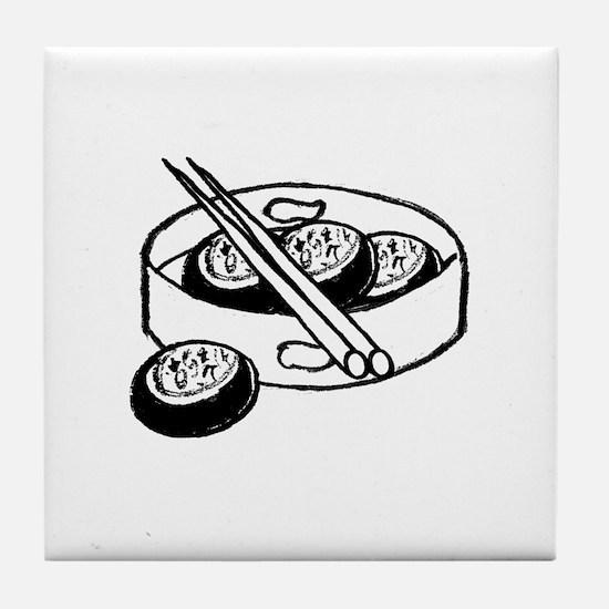 Chinese dim sum design Tile Coaster