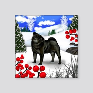 "pug berries Square Sticker 3"" x 3"""