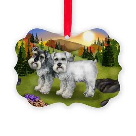 fall chnauzer Picture Ornament