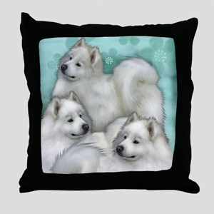 samoyed dogs Throw Pillow