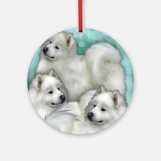 samoyed dogs Round Ornament