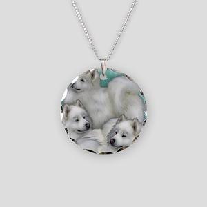 samoyed dogs Necklace Circle Charm