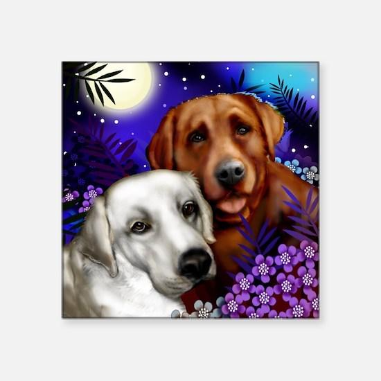 """White and Red Labrador Retr Square Sticker 3"""" x 3"""""""